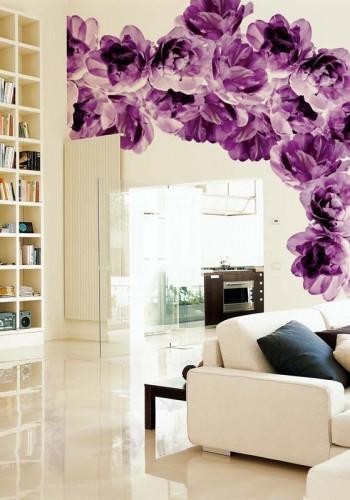 Фото росписи стен на кухне цветы