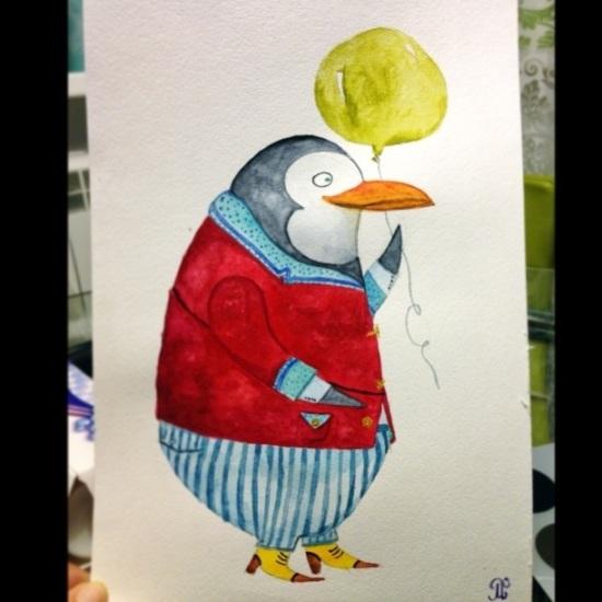 рисунок акварелью пингвин
